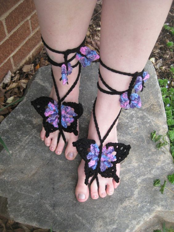 Crochet Barefoot Sandals with Multicolored Yarn