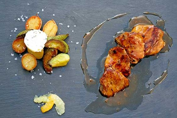 Pork fillets sautéed marinated with mustard and orange with sage sauce, garnished with baby potatoes and sauteed zucchini with flavored butter. Paparouna Wine Restaurant & Cocktail Bar   Ready our dishes.