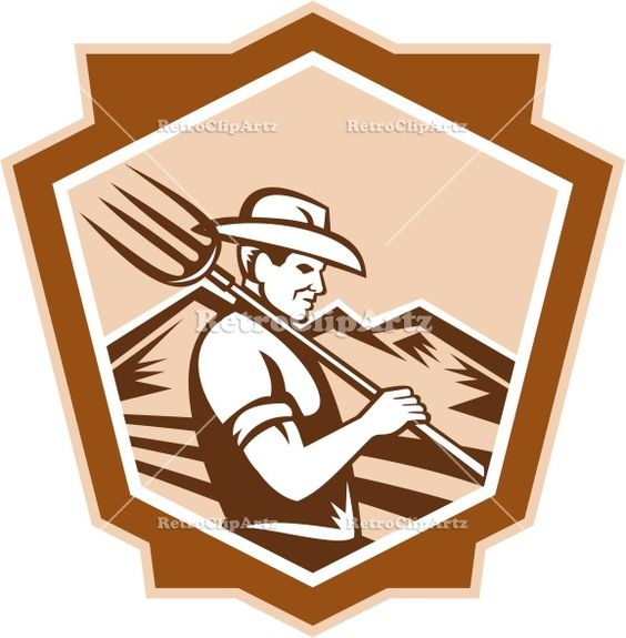 agriculture, artwork, crest, farm worker, farmer, graphics, illustration, organic, organic farmer, pitchfork, prong, retro, shield, trident,...