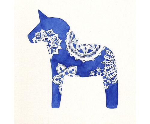"""""""Dalahäst Blå,"""" watercolor by Melinda Josie  white on blue  Melinda Josie - Dalahäst Blå"""