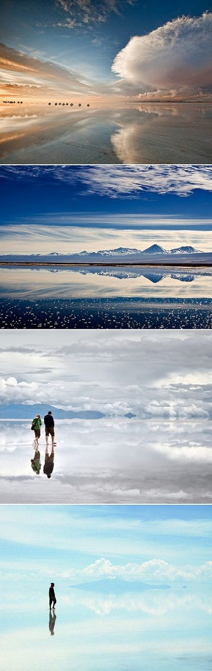 Bolivia Salt Flats: Salar de Uyuni-Bolivia, the world's largest salt flat (4.086 sq. mi.) at the crest of the Andes, contains 50 - 70% of the world's lithium). Turns into the worlds largest mirror when flooded. Looks like Heaven