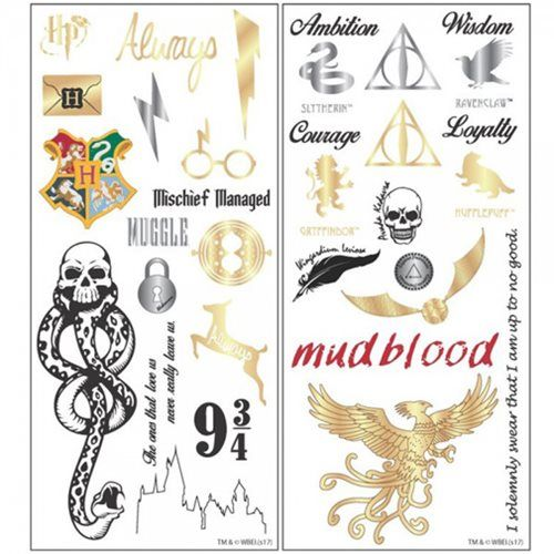 Coming To Entearth Harry Potter Temporary Tattoo Set Tattoo Set Harry Potter Drawings Temporary Tattoos
