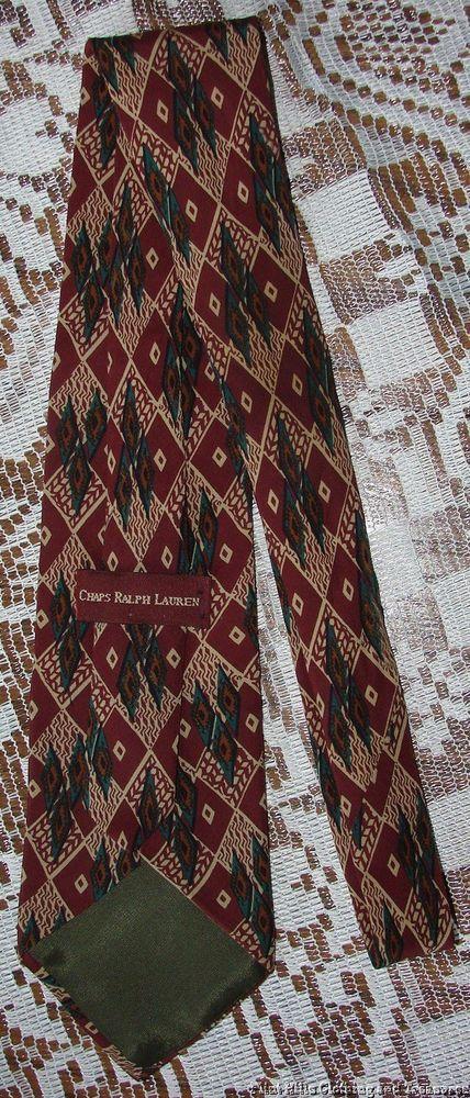 Chaps Ralph Lauren Silk Neck Tie  Geometric Diamond Print  Free Shipping in USA #chaps #ralphlauren #ralphlaurenties #silkties