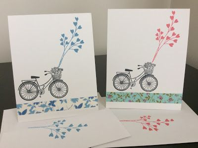 A bike card set using washi tape.