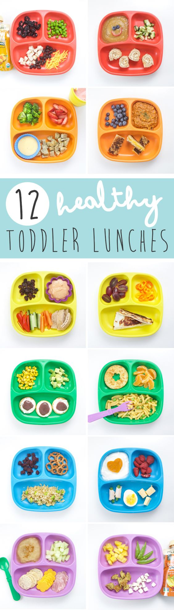 These 12 Healthy Toddler Lunches are nutrient packed (we are even going to hide some extra veggies in them) and balanced meals that will be devoured by your toddler in no time at all!: