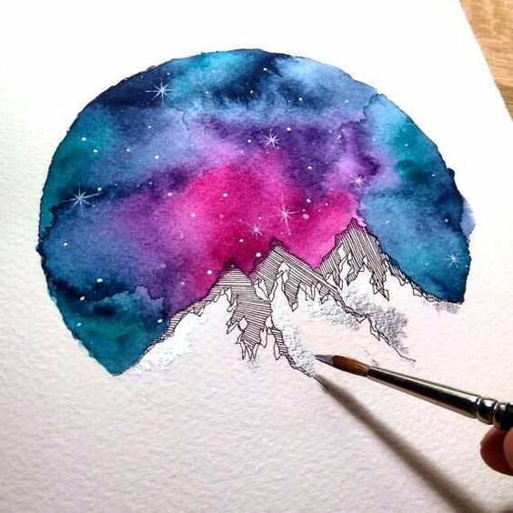 Silver Colorful Mountains Watercolor Art Print by SkyesArtworks