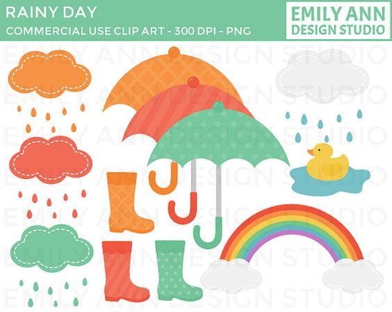 rain boots umbrellas rain cute clip art whimsical cute