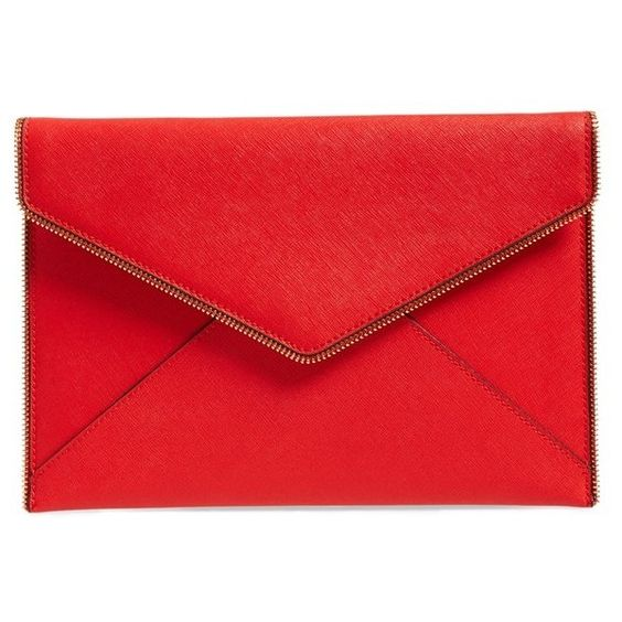 Rebecca Minkoff 'Leo' Envelope Clutch ($95) ❤ liked on Polyvore featuring bags, handbags, clutches, red leather purse, red purse, real leather purses, rebecca minkoff handbags and envelope clutch bag