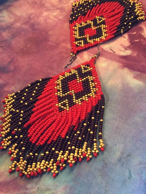 Autumnal Peyote Stitch Earrings by TexleyDesignCo on Etsy: