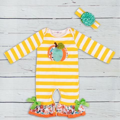Halloween Kid Baby Girl Boy Clothes Pumpkin Stripe Romper Jumpsuit Outfits 0-24M