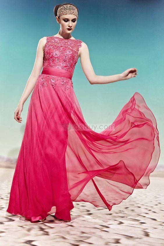 Elegant A-line Floral Floor-length Evening Dress