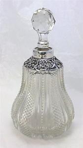 Victorian hallmarked silver & cut glass Scent/Perfume Bottle - 1899