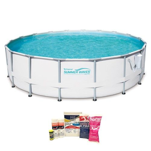 Summer Waves Elite 16 Ft Metal Grey Frame Above Ground Pool W Pump Cleaning Kit Best Above Ground Pool In Ground Pools Above Ground Swimming Pools