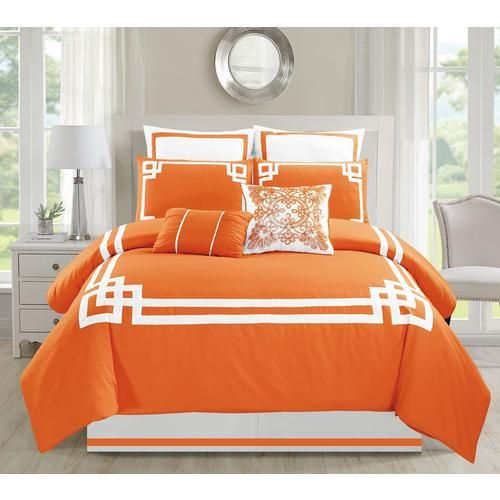 Kinglinen 8 Piece Lucca Comforter Set Sears Comforter Sets Orange Comforter Comforters