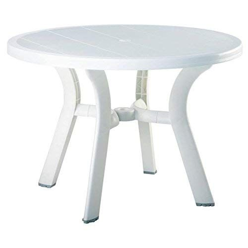 Pemberly Row 42 Round Resin Patio Dining Table In White Review