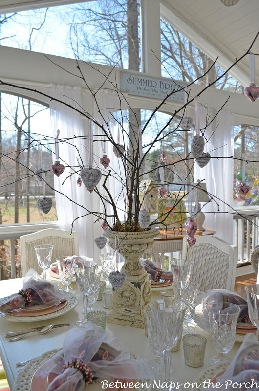 Table Setting with Music and Mercury-Glass Heart Tree