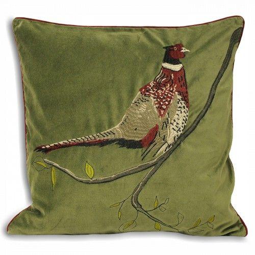 Riva Home Hunter Velvet Pheasant Cushion Cover Velvet Cushions