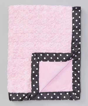 Love this 30'' x 40'' Light Pink & Black Polka Dot Trim Stroller Blanket by Baby Essentials on #zulily! #zulilyfinds