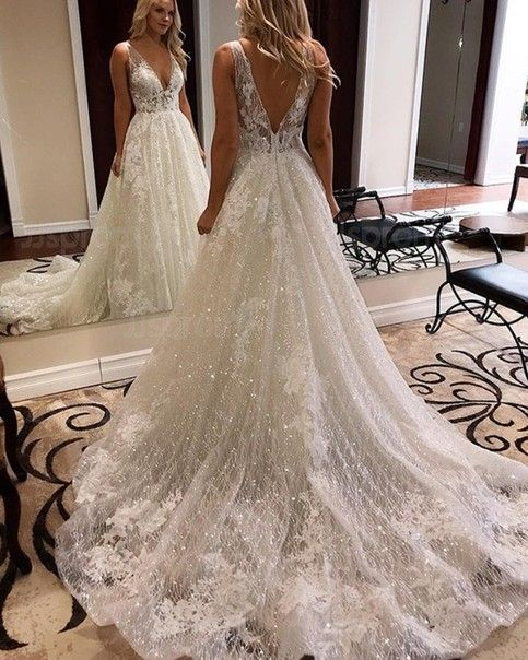 W131 V Neck Lace Wedding Dresses Wedding Dress Custom Made Wedding Gown From Fancygirldress In 2020 Elegant Bridal Gown Sparkle Wedding Dress Wedding Dress Sequin