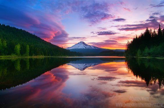 Trillium Lake Sunrise by Darren  White, via 500px