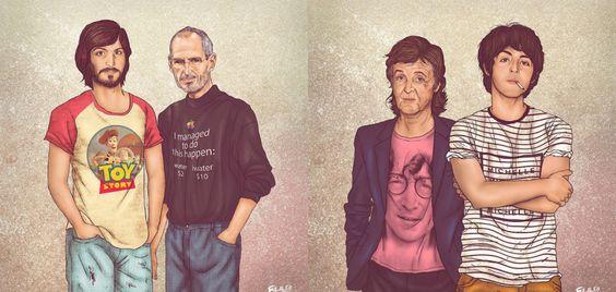 O presente e o passado de celebridades em ilustrações incríveis