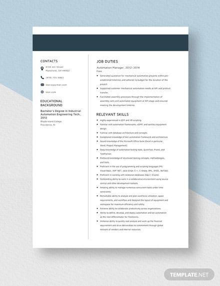 Automation Manager Resume Template Ad Ad Manager Automation Template Resume In 2020 Teacher Resume Template Teacher Resume Computer Teacher