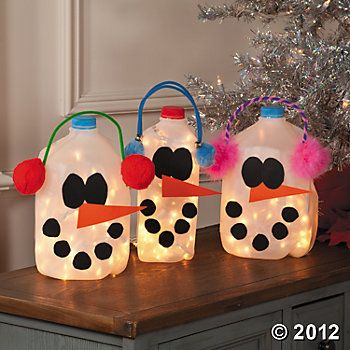 Lighted Snowman Milk Jugs Christmas Craft Idea - The perfect way to bring Frosty to life.