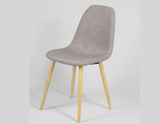 Chaise scandinave bleu ou gris en tissu et en bois ILDRA (lot de 4)
