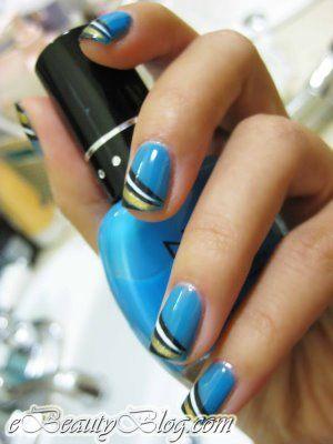 Very creative!: Nail Art Tutorials, Nails Nails, Nail Polish, Blue Nails Art, Art Design, Blue Nail Designs, Black Gold, Nail Ideas
