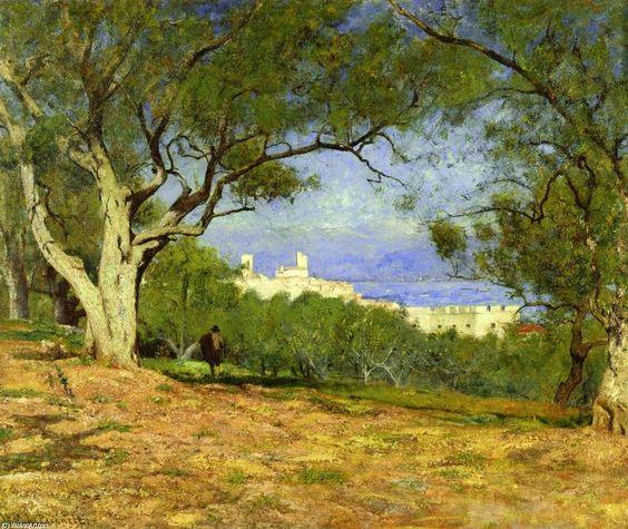 Vue de Provence (également connu sous le nom Vue de Provence), huile sur toile de William Lamb Picknell (1853-1897, United States)