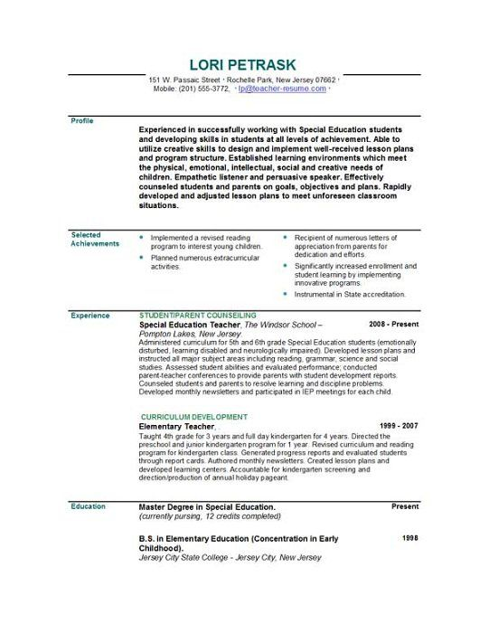 Sample Teacher Resume Page 1 Job Hunting Pinterest Teacher - example of a profile for a resume