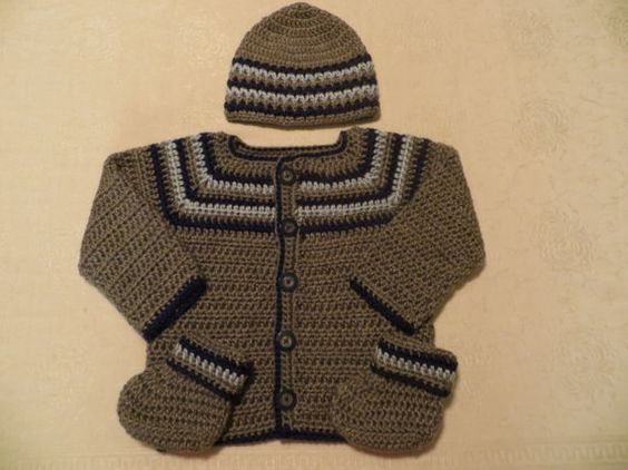 Baby boy sweater set gray and blue striped sweater with by KEL2D2, $35.00