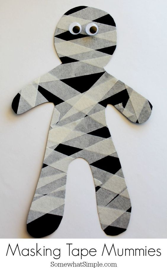 Easy Halloween Craft for Kids- Masking Tape Mummies
