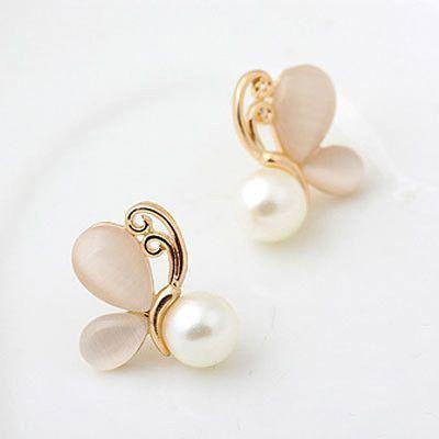 E8 Earrings Jewellery Gift Women's Woman's Accessory Stud Studs Gold Pearl