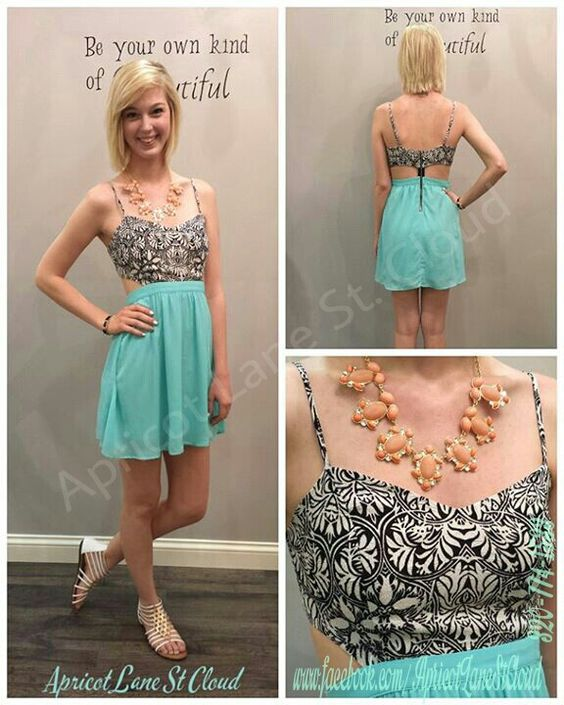 Darling Damask Dress. Charming turquoise hues pair with sweet pattern details for the perfect dress ($48). Designed with an elegant Damask bust, side cut out details, and a sweet zip up back detail. Beautifully tailored, this dress features a fitted bust, gathered waist, and is fully lined. We accessorized with a coral bauble necklace ($24)  gladiator inspired sandals ($33). Heels or wedges would also look amazing with this dress. To add this to your closet give us girls of Apricot Lane St…