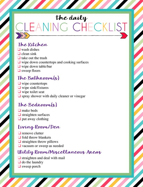 Free Printable Daily and Weekly Cleaning Lists Free printable - weekly checklist