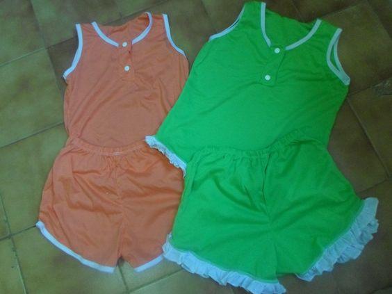 Pijamas infantis, tamanho G Cores: laranja e verde Precinho de amiga: 5,00 cada conjunto