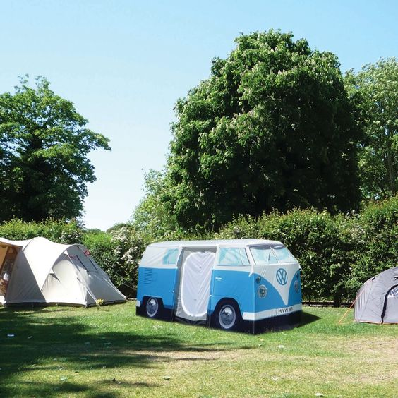 new school old camping, old school new camping, or old school old camping. anyhow; cool  tent in shape of VW van