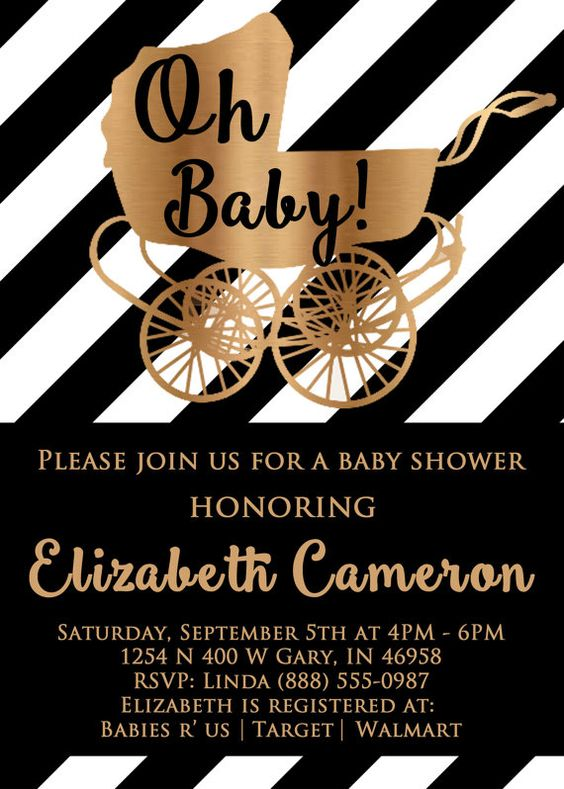 Black and White Baby Shower Invitations Black by GreatOwlCreations