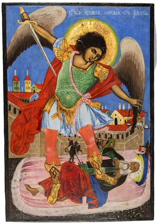 "Icon ""Archangel Michael seizes the soul of the rich"""