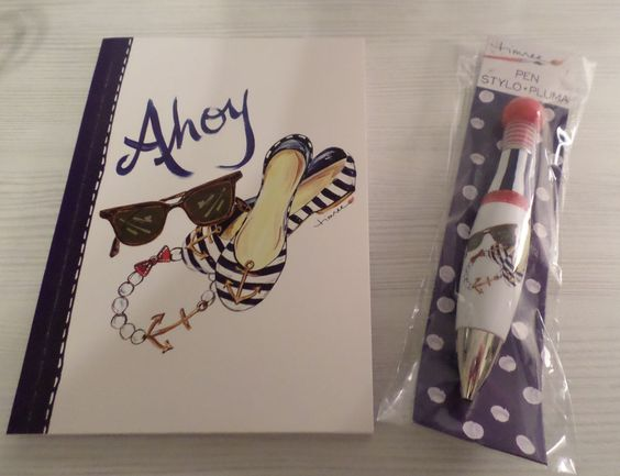 AHOY JOURNAL DIARY NOTEBOOK + MATCHING PEN NAUTICAL COASTAL SUNGLASSES SHOES