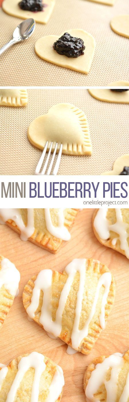 These heart shaped mini blueberry pies are SO EASY to make and they taste amaaaaazing! They use jam as the filling and you can even use store bought pie crust!: