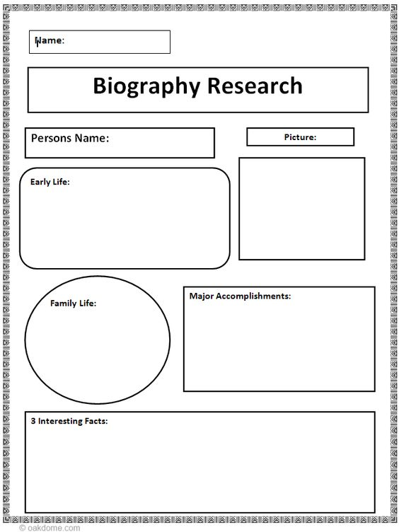 Biography Research Graphic Organizer: