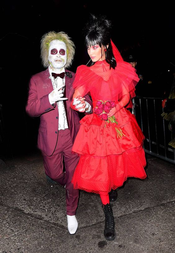 The Best Celebrity Halloween Costumes. 2018 The Weeknd and Bella Hadid were inspired by Beetlejuice for their fancy dress outfits.