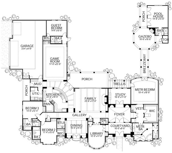 Mediterranean Style House Plan - 4 Beds 4.5 Baths 4776 Sq/Ft Plan #80-124 Floor Plan - Main Floor Plan - Houseplans.com
