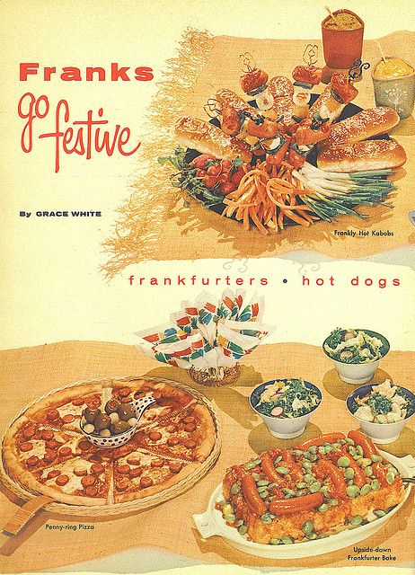 Franks Go Festive!    Family Circle article, July 1956: Vintage Picker, Vintage Recipes, Article July, Family Circle, Vintage Cooking, Vintage Foods, Vintage Ads, Frankfurter Bake, Circle Article