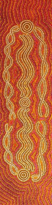Ngalyipi Jukurrpa (Snake Vine Dreaming - Yanjirlpiri by Judith Napangardi Hargraves-art aborigène