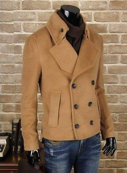 This is a short,medium,long sleeve,brown coat.The coat has six buttons to on the waist,The coat has leapel,the coat has two bags to on the waist