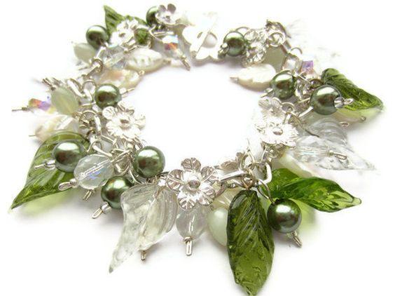 Cluster Bracelet Mother of Pearl Bracelet Pearl by BecauseofAnnie, £25.00