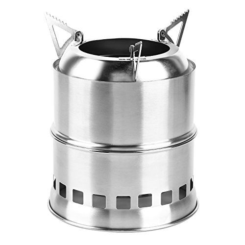 Portable Stainless Steel Stove,Charcoal//Solidified Alcohol Stove,Firewood Barrel with Mesh Bag for BBQ OUTAD Camping Stove Hiking Emergency Preparation Camping Outdoor Cooking Picnic